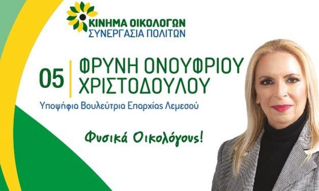 Φρύνη Ονουφρίου Χριστοδούλου: Εκλογικά Έξοδα Βουλευτικών 2021