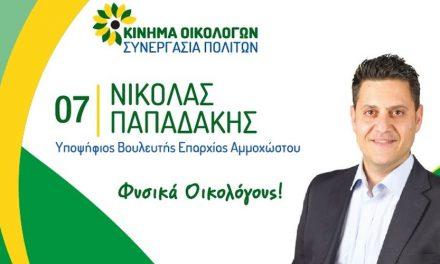 Νικόλας Παπαδάκης: Εκλογικά Έξοδα Βουλευτικών 2021